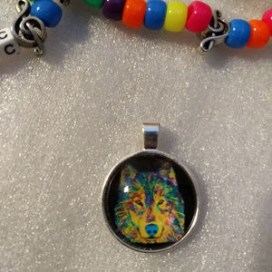 PSYCHADELIC WOLF Necklace Charm - Rave Fashion